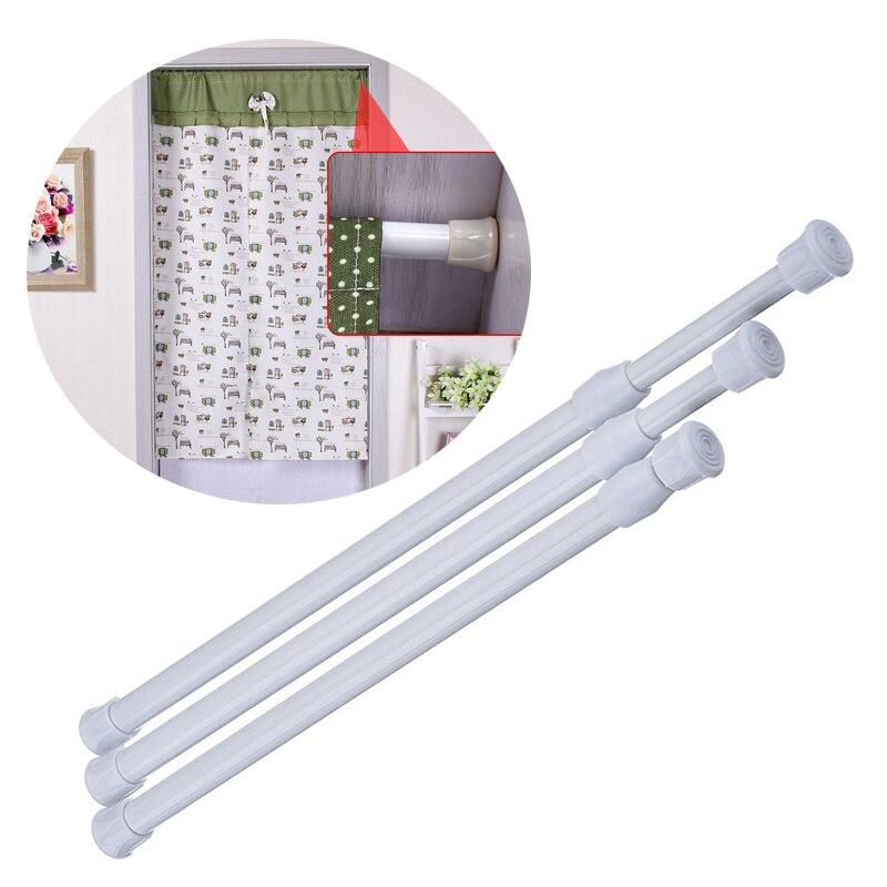 Adjustable Bathroom Curtain Rod Metal Spring Load Bathroom Bar Extendable Shower Curtain Rail Rod Telescopic Poles Hanger Rods