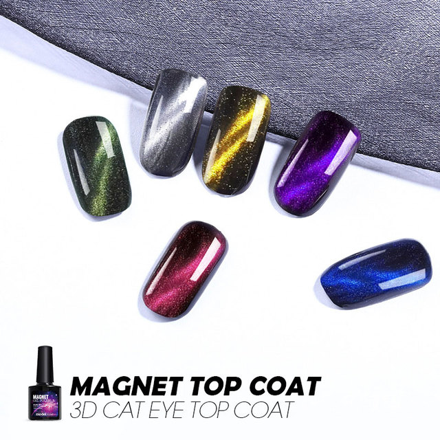 Modelones 10ML Magnet Cat Eyes Top Coat Chameleon Magnetic Effect Nail Top Coat UV Nail Polish Soak Off 5 Colors Led Nail Coat