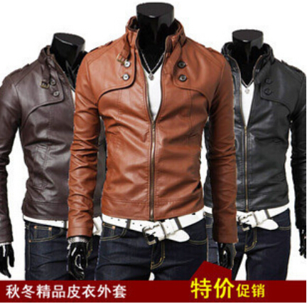 COLDKER  Men's Slim Collar Leather  Jacket Coat Pu Male Locomotive Man Short Paragraph Streetwear Clothing