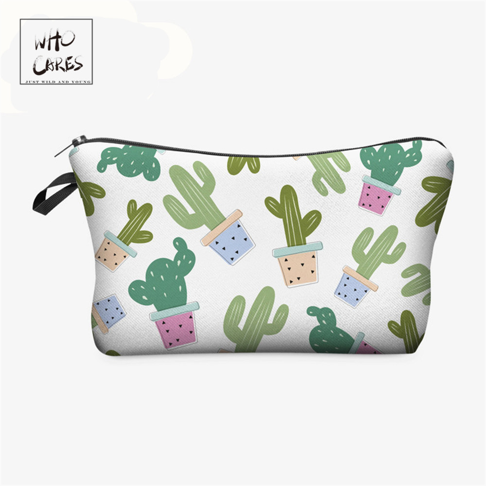 Who Cares Cute Fresh Cactus 3D Printing Fashion Makeup Bags Cosmetics Pouchs For Travel Ladies Pouch Women Cosmetic Bag