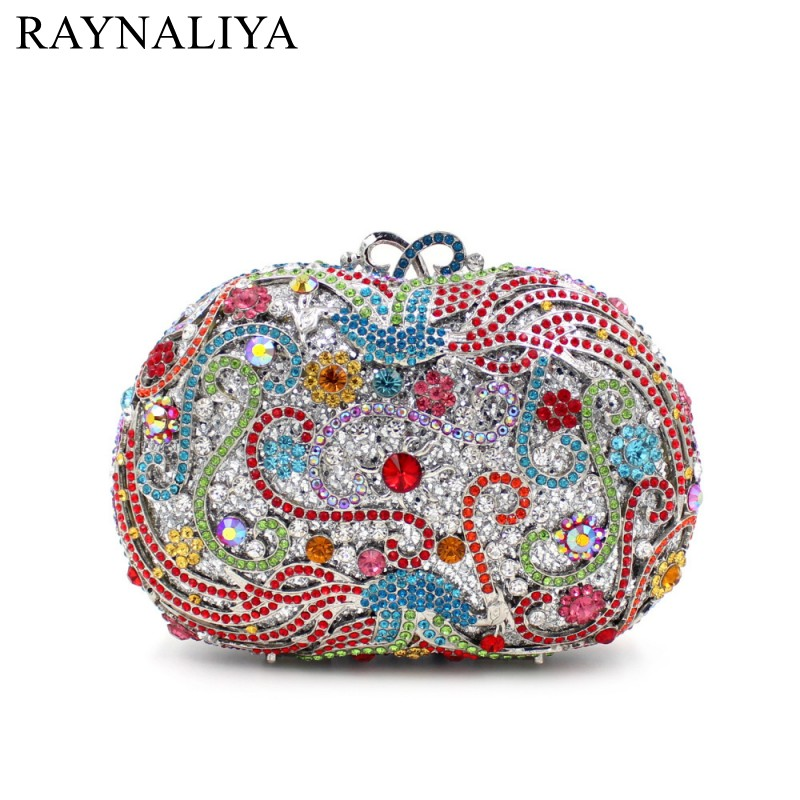 Fashion Evening Bags Rhinestones Clutch Handbags Crystal Wedding Party Bag Colourful Purse New Product Minaudiere Smyzh-e0342 women luxury rhinestone clutch beading evening bags ladies crystal wedding purses party bag diamonds minaudiere smyzh e0193