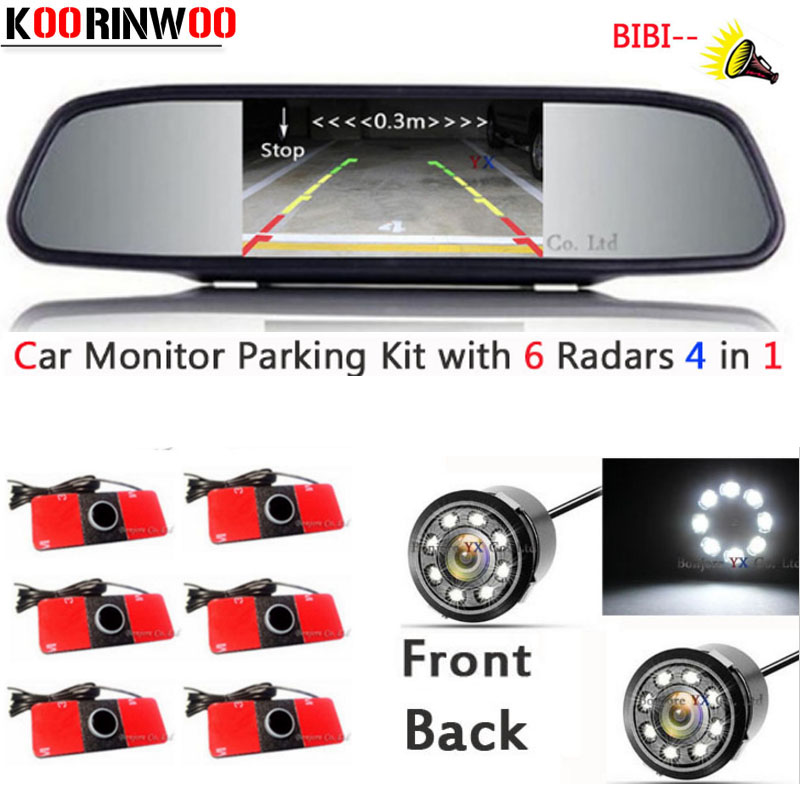 KOORINWOO Car parking Sensors 6 Alarm Buzzer Video Car Mirror Monitor Reversing Radars Parktronic Auto Rear view camera For Car dual core cpu car parking sensors 4 radars hd car monitor bluetooth mp5 4 fm auto rear view camera parktronic parking system