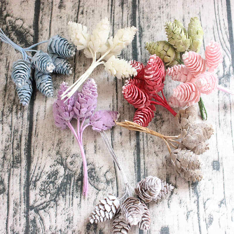 1 Bunch of antique decorative artificial flowers home wedding party decoration plastic simulation pine cone pineapple gra
