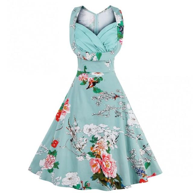3xl 4xl más el tamaño mujeres pin up dress retro vintage 1950 s 60 s Rockabilly Columpio de Flores Vestidos de Verano Elegante Túnica Túnica vestidos