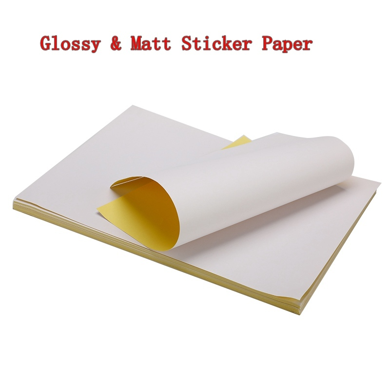 50/100 folhas/lote a4 lustroso & mate kraft adesivo para impressora a jato de tinta a laser copiadora papel ofício auto adesivo etiqueta