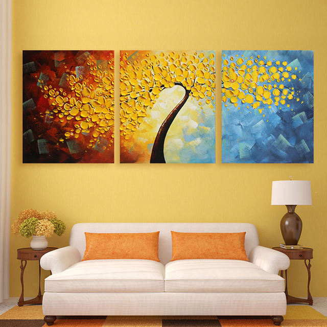 Hand Painted Wall Art Yellow Flowers Thick Palette Knife Textured ...