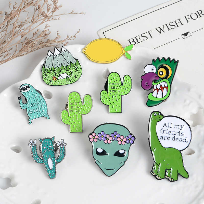 Singolare pins collection Alien Frutta Animale Sloth Dinosauro Gatto Limone Pesca UFO record di libro cactus Divertente Spille Regalo per l'amico