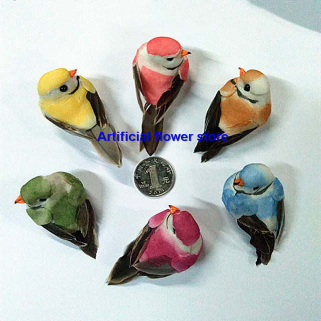 7 3 3cm decorative mini bird artificial foam feather birds for Feathered birds for crafts