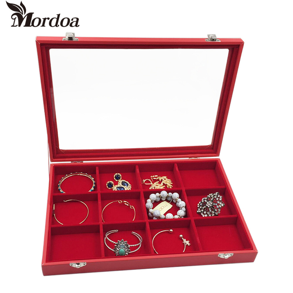 12 slot Red Jewelry Box Glass Cover Ring Storage Box Stud Earring Box Wheel Stud Earring Jewelry Holder Accessories Display Rack red box сортер red box шар