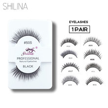 Фотография SHILINA False Eyelashes 1 Pair Handmade Soft Natural Long Thick False Eye Lashes Extension #502
