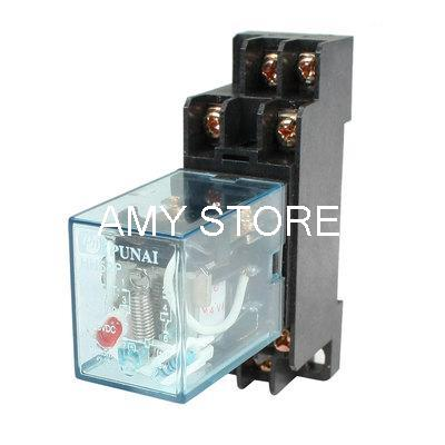 цена на HH52P DIN Rail 24VAC Coil DPDT 8P General Purpose Power Relay w DYF08A Base