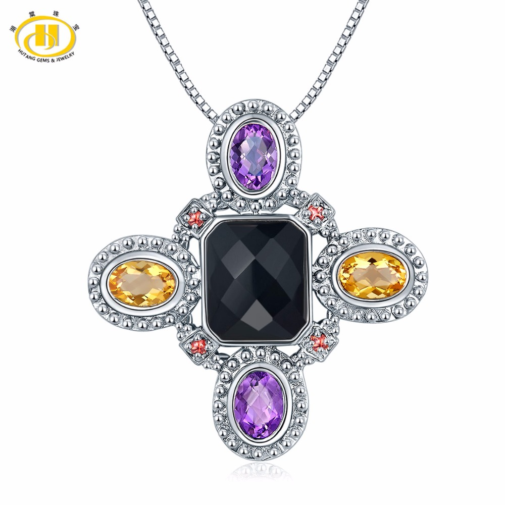 Hutang Multi Gemstone Pendant Natural Black Agate Citrine Garnet Amethyst Solid 925 Sterling Silver Necklace Fine Fashion Jewely 2 3mm red natural agate necklace multi layers 925 sterling silver with real pearl fine womne jewelry wedding party necklace