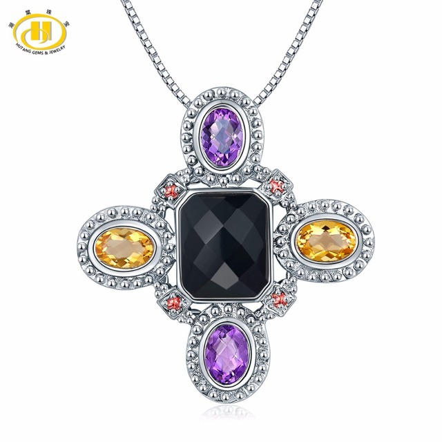 fee7cb68798027 Hutang Multi Gemstone Pendant Natural Black Agate Citrine Garnet Amethyst  Solid 925 Sterling Silver Necklace Fine