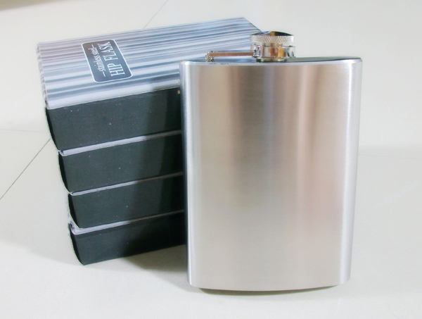 2pc/lot vintage 7oz Stainless Steel Hip Liquor Whiskey Alcohol Flask Cap + Funnel