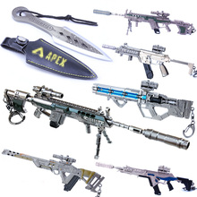 Metal Key Chain Battle Royale APEX Legends Keychain Gun Model Keyring Metal Key Ring fortnight battle royale toy model the tactical shot gun keychain alloy weapons kids toy collection decoration