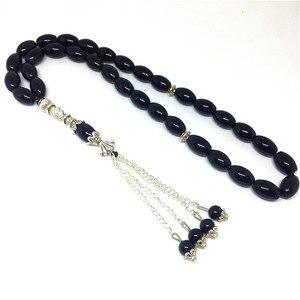 Image 1 - Pierres naturelles en Onyx noir mat, 33 perles de prière, de forme ronde, pour lislam, Tasbih Allah, livraison gratuite