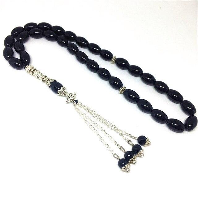 Pierres naturelles en Onyx noir mat, 33 perles de prière, de forme ronde, pour lislam, Tasbih Allah, livraison gratuite