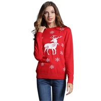 Women S Ugly Christmas Sweater Long Sleeve O Neck Cute Slim Girls Reindeer Snowman Pattern Knit