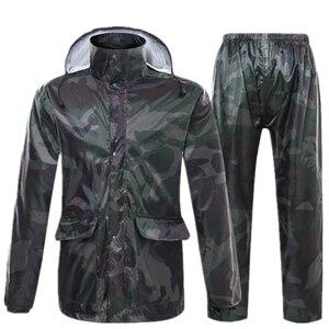 Image 5 - VILEAD הסוואה למבוגרים מעיל גשם עמיד למים חיצוני גשם מכנסיים רכיבה על אופנוע גשם מעיל שקוף כובע פונצ ו בגדי גשם סט