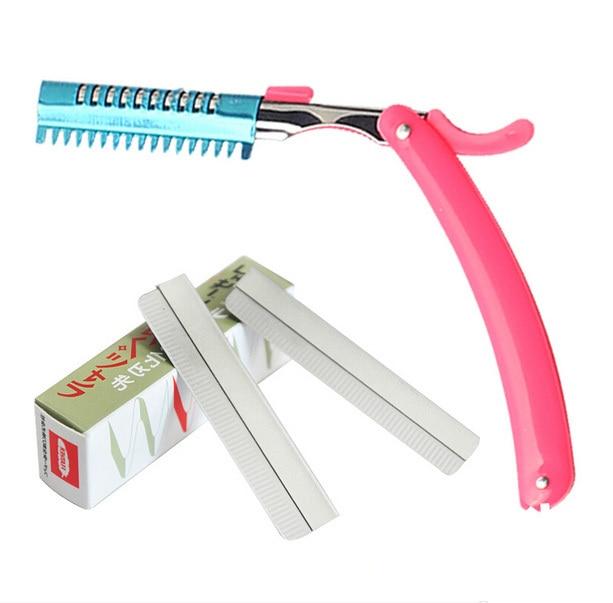 Free shipping, 1pc eyebrow razor rest holder + 10pcs stainless steel shaving razor blades beauty makeup tool set shaver