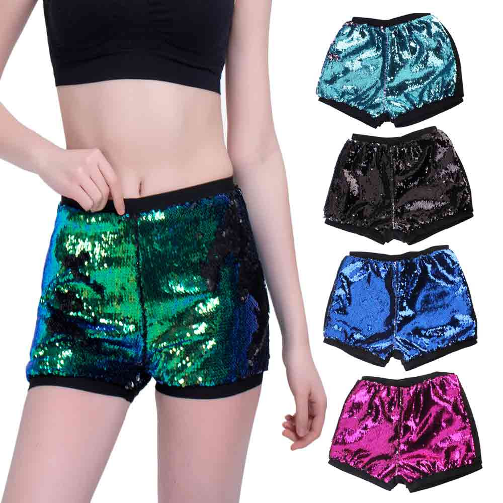 Womail Women   shorts   Two Toned Reversible Mermaid Fishscale Sequin   Shorts   Girls   Shorts   Casual Patchwork Lady 2019 dropship j22