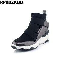 Ankle Platform Sneakers Round Toe Shoes High Heel Women Boots Winter 2017 Booties Wedge Black Metallic