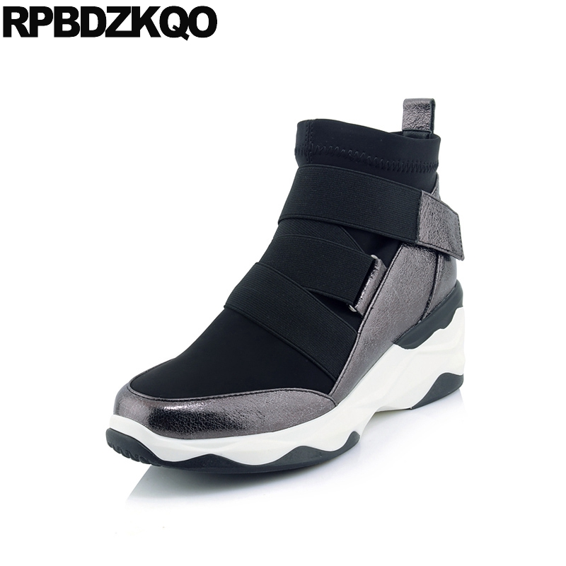 Ankle Platform Sneakers Round Toe Shoes High Heel Women Boots Winter 2017 Booties Wedge Black Metallic Casual Genuine Leather round toe korean version womens booties ankle block high heel princess full grain leather boots winter geometric mixed colors
