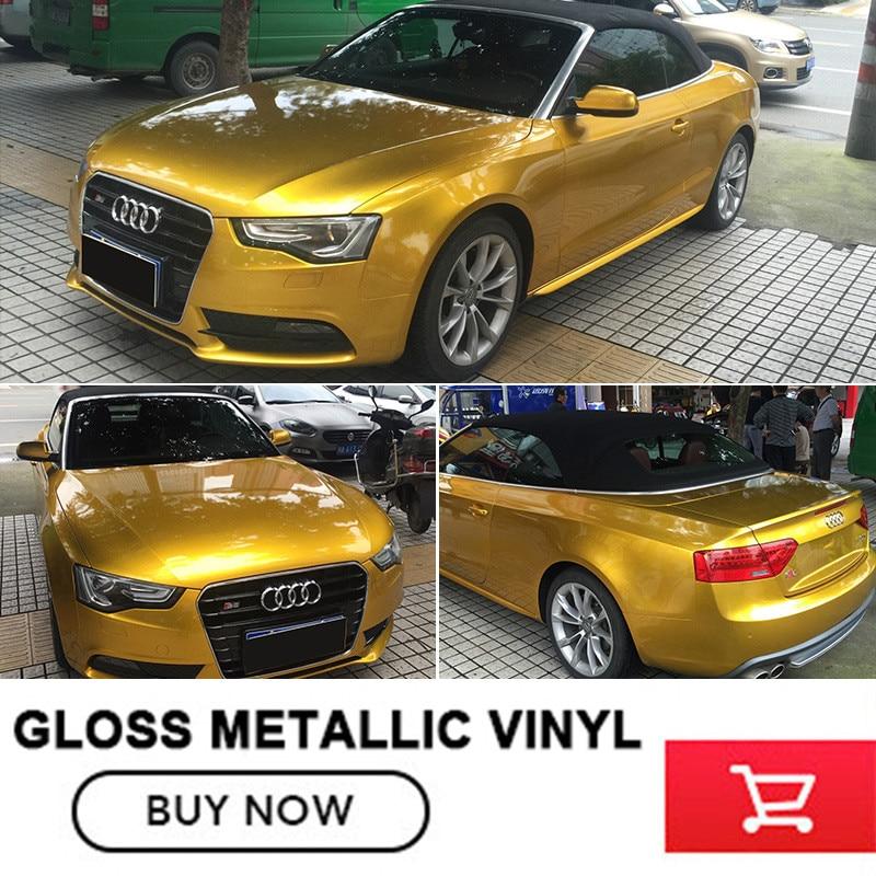 Wrapping Film Car Wrap Gloss Metallic Glossy Glitter Metallic DIY Wrapping in Gloss Gold Car Wrap Vinyl 1.52M*20M/roll undefasa royal gold gloss grid 25x75