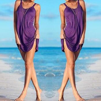 2017 Bikini Dress Women Summer Sleeveless Evening Party Beach Dress Short Mini Swim Beach Dress Women Girls 5 Colors Cover-ups