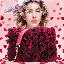 New fashion lace flower women handbag new high quality PU leather fresh girl bag square chain shoulder