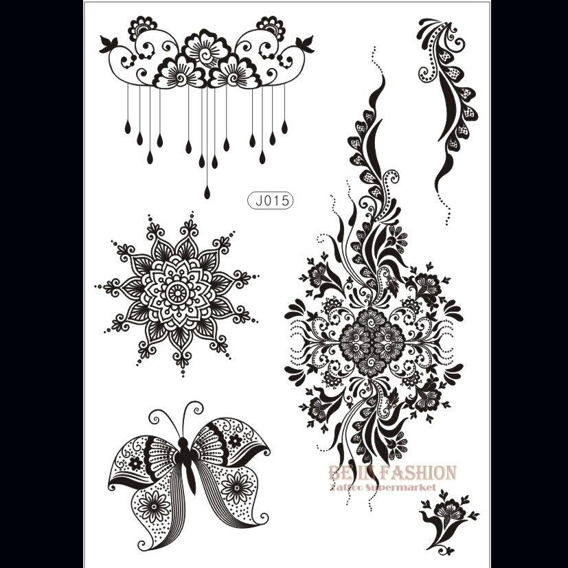Us 097 15 Off1 Sztuka Kwiat Słońce Koronki Czarny Tatuaż Z Henny Naklejki Flash Tatuaż Złoty Srebrny Budda Tatuaże Wzory Fałszywe Taty Indian Na