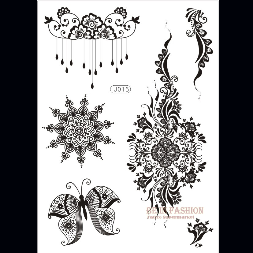 Henna Style Tattoos Lace Tattoo: 1piece Flower Sun Lace Black Henna Tattoo Sticker Flash