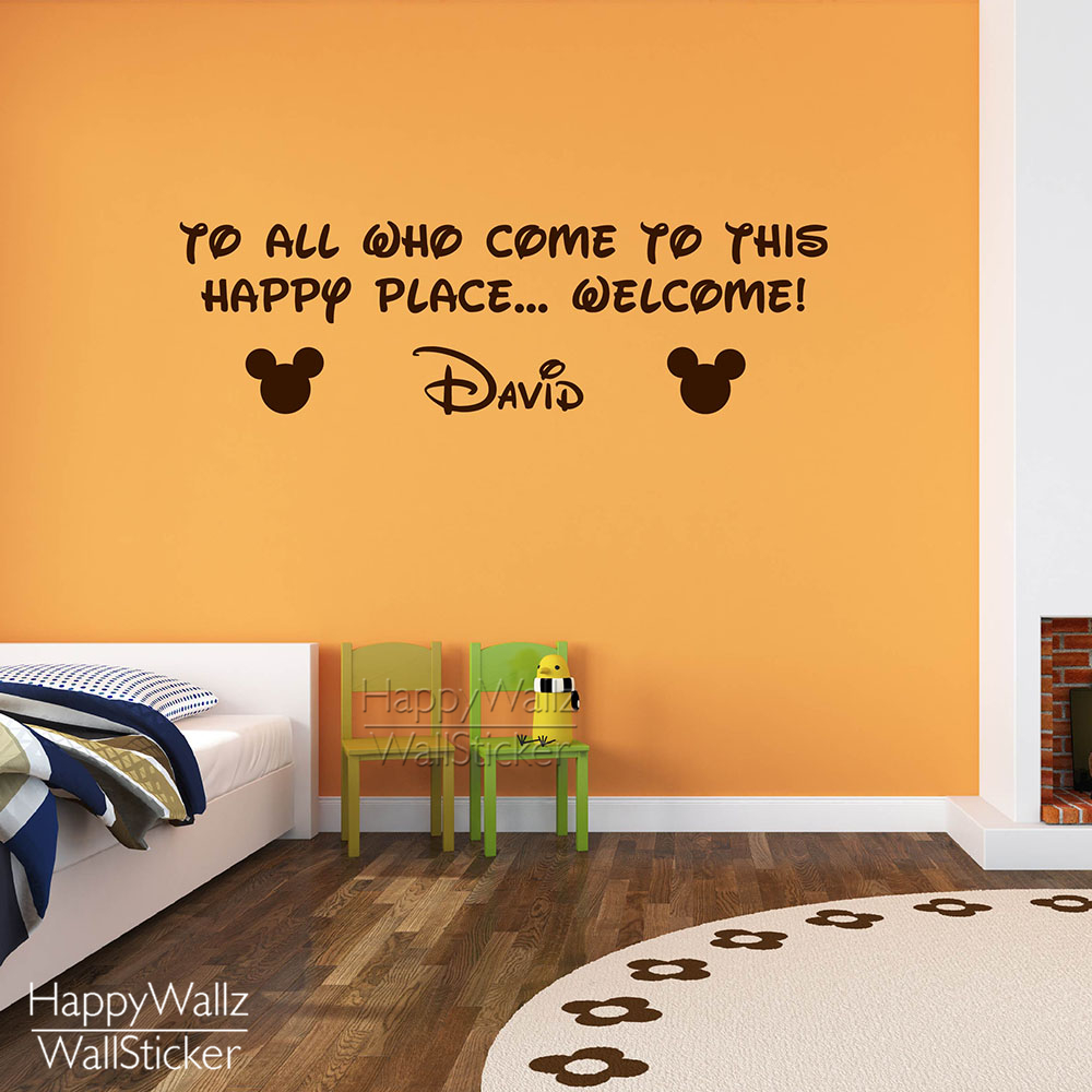 Minky Mouse Wall Sticker DIY Baby Nursery Custom Name Wall Decal Kids Room Quotes Wall Decor 564C
