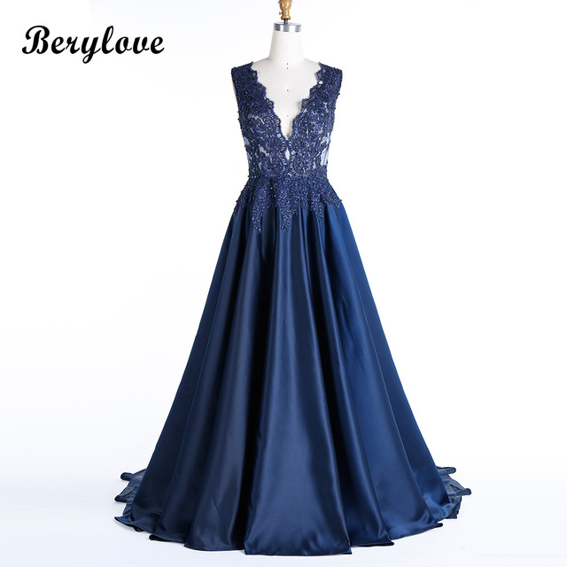 ef542b57acc76 BeryLove Morden Dark Navy Blue Plus Size Evening Dresses 2019 Deep V Neck  Beaded Lace Prom Dresses Formal Dress Party Gowns