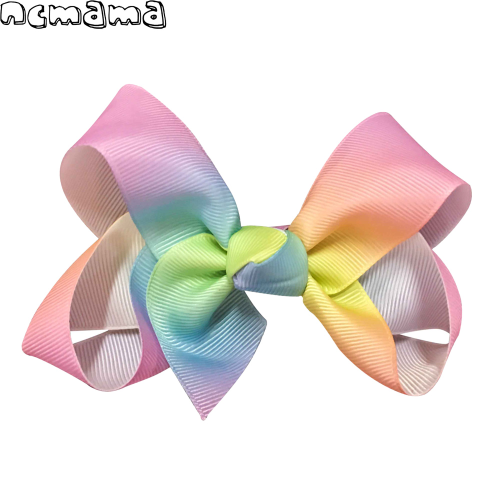 4 Inch Girls Gradient Color Grossgrain Ribbon Hair Bow with Alligator Clip for Kids Handmade Rainbow Hairbows 2 Pcs a Lot