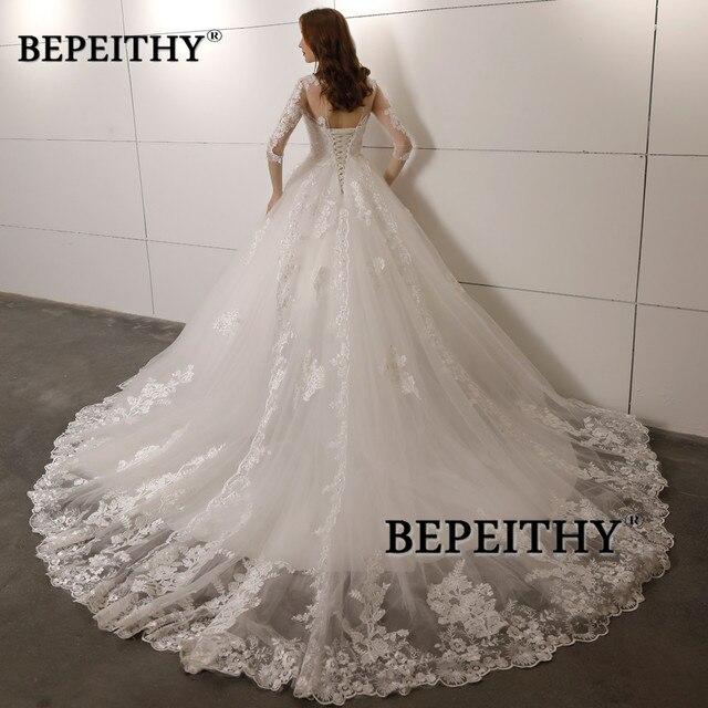 Vestido De Novia Three Quarter Sleeves Lace Wedding Dress 2021 Open Back Vintage Bridal Dresses Ball Gown Hot Sale 2