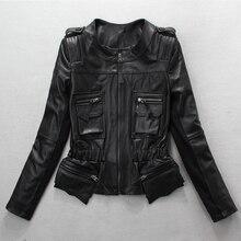 Free shipping,spring new fashion Genuine leather women slim jackets.Asian size female sheepskin jacket Brand sales quality