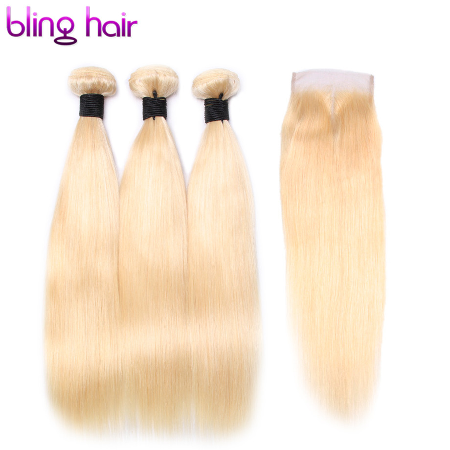 Bling Hair Pre colored 613 Human Hair Bundles with Closure 4 4 Free Part Straight Brazilian