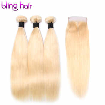 Bling Hair Pre-colored #613 Human Hair Bundles with Closure 4*4 Free Part Straight Brazilian Hair Blonde Bundles Non Remy Weaves - SALE ITEM Hair Extensions & Wigs