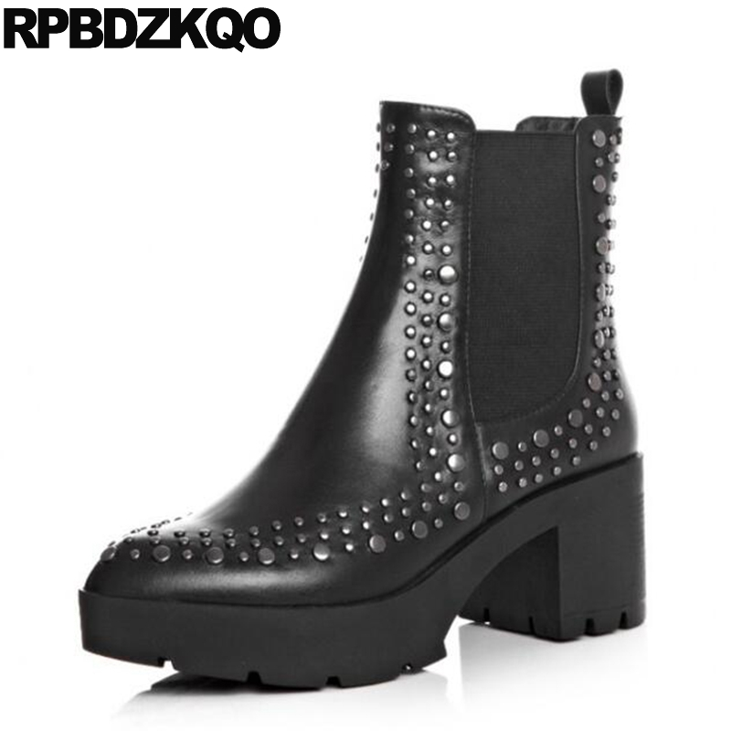 Metal New Stud Women Gothic Platform Boots Punk Slip On Rivet High Heel Ankle Chunky Fur Chelsea Shoes Black Booties Winter 2016 new winter women black high heel martin ankle boots buckle gothic punk motorcycle combat boots shoes platform free shipping