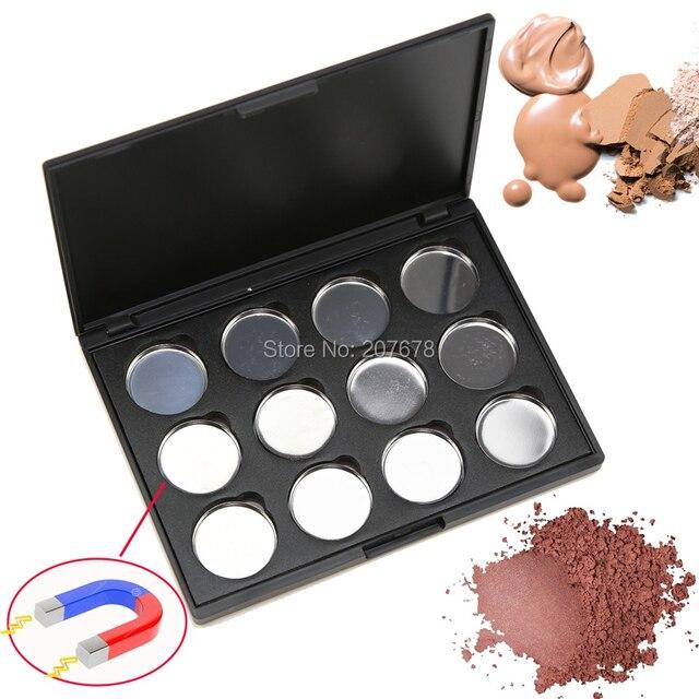 12 piezas de alta calidad 26mm vacío sombra de ojos magnética corrector de aluminio sartenes con paleta herramientas de maquillaje cosméticos caja DIY