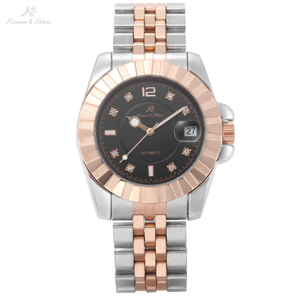 KS Brand Imperial Rose Gold Black Rhinestone Dots Date Display Automatic Steel Band Men Relogio Masculino Mechanical Watch/KS314 ks black dial rose gold stainless steel case date display automatic mechanical fluorescence hands leather strap men watch ks234