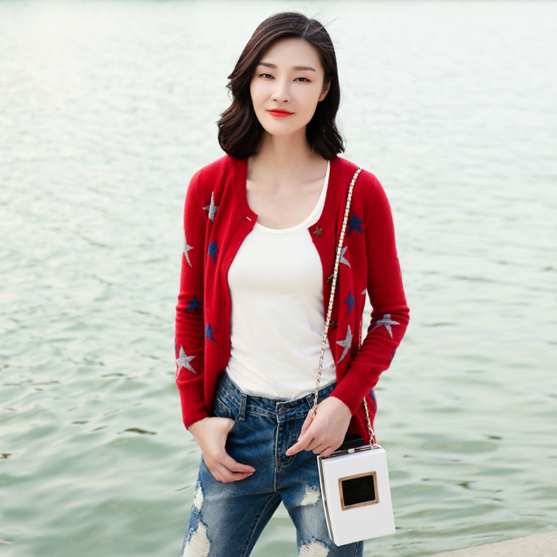 Spring 2018 Fashion Woman Ladies Cashmere Cardigan Long Sleeve 100% Pure Cashmere Korean Cardigan O-neck Cardigan Star Decor