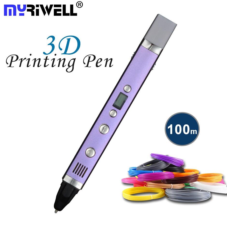 Myriwell мм 1,75 мм ABS/PLA DIY светодио дный 3D Ручка светодиодный экран, usb зарядка 3D печать Ручка М + 100 м нити творческий подарок игрушка для детей диза...