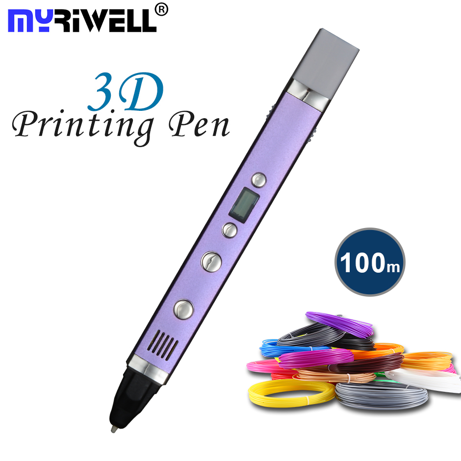 Myriwell 1,75mm ABS/PLA DIY 3D Pen LED pantalla, USB carga 3D impresión pluma + 100 M filamento creativo juguete regalo para niños diseño