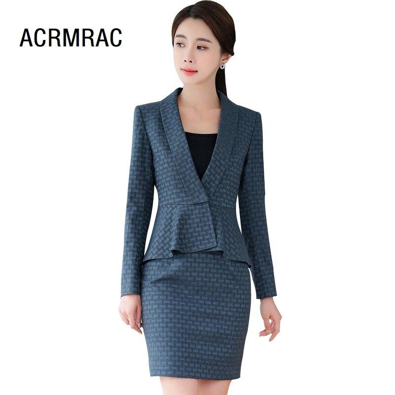Women Suits Slim Spring Flounced Jacket Skirt 2-piece Set OL Formal Business Women Skirt Suits Woman Set Suits 296