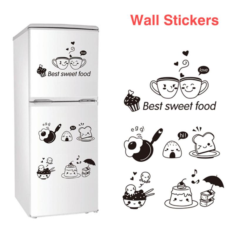 Removable Wall Stickers Room Wall Decoration Restaurant Kitchen Happy Western Fridge Coffee Stickers