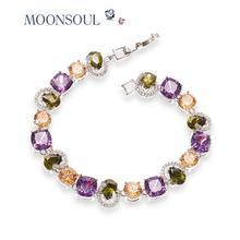 El Oro blanco Plateó Multicolores Pulsera para Las Mujeres Del Encanto AAA Cubic Zircon Strand Bracelet & Bangle B10024