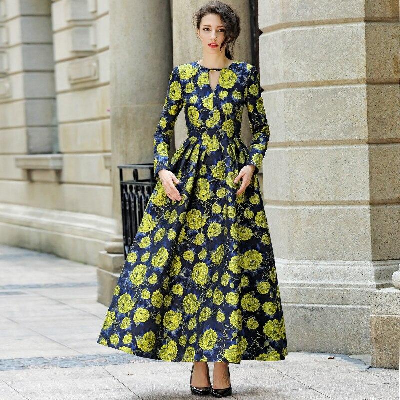 2019 good quality women fashion dress autumn winter long maxi floral print dress