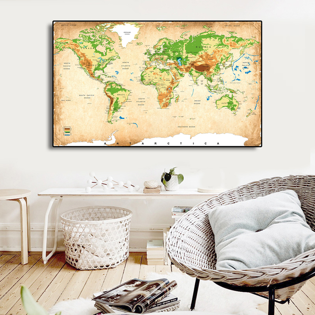 World Map Canvas Art, Classical Maps Elevation Level Topography ...